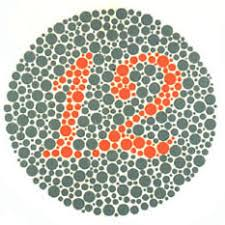 Ishihara test plate-1. This plate is seen by everyone, with normal or abnormal red green colorblind