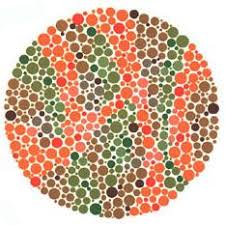 Ishihara test plate-20. Normal person will see nothing while person with Red-green deficiency will see it as 45
