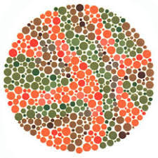 Ishihara test plate-21. Normal person will see nothing while person with Red-green deficiency will see it as 73