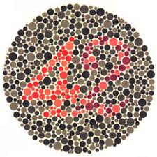 Ishihara test plate-23. Normal person will see it as 42 while person with Protanopia or protanomaly will see it as 2 and patient with Deuteranopia or deuteranomaly will see it as 4