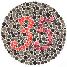 Ishihara test plate-24. Normal person will see it as 35 while person with Protanopia or protanomaly will see it as 5 and patient with Deuteranopia or deuteranomaly will see it as 3