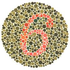 Ishihara test plate-3. Normal person see it as 6 while person with Red-green deficiency see it as 5