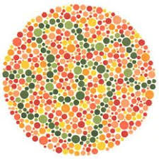 Ishihara test plate-30. Normal person will see blue-green line while people with Red-green deficiency will see nothing