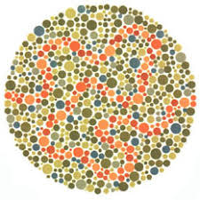 Ishihara test plate-32. Normal person will see orange line while people with Red-green deficiency will see nothing or a false line