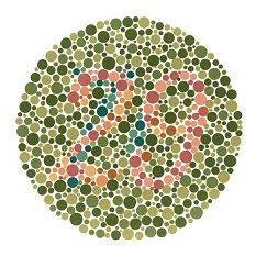 Ishihara test plate-4. Normal person see it as 29 while person with Red-green deficiency see it as 70